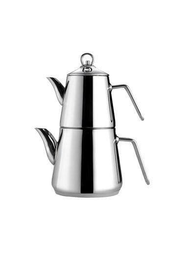 Nehir Everest Çelik Çaydanlık Takımı Gümüş